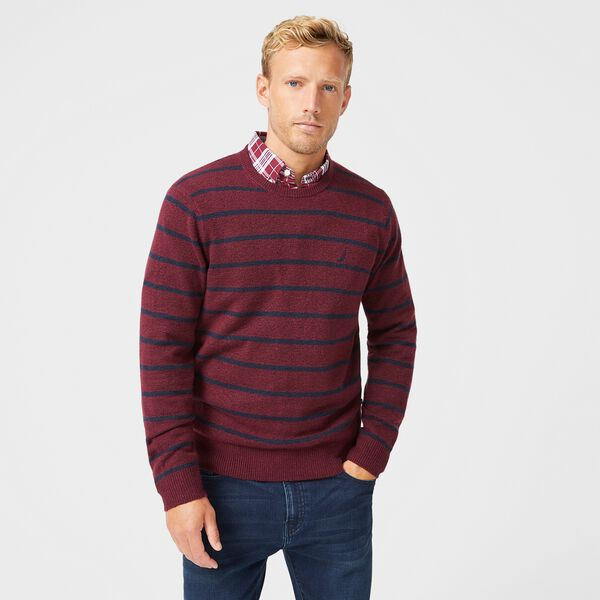 SUSTAINABLY CRAFTED STRIPE J-CLASS SWEATER - Royal Burgundy