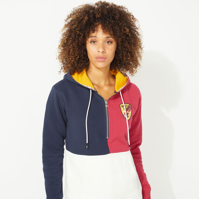 NAUTICA JEANS CO. COLORBLOCK PULLOVER HOODIE,Marshmallow,large