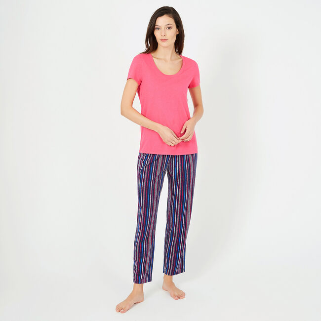Vertical Striped Pajama Set,Crystal Bay Blue,large