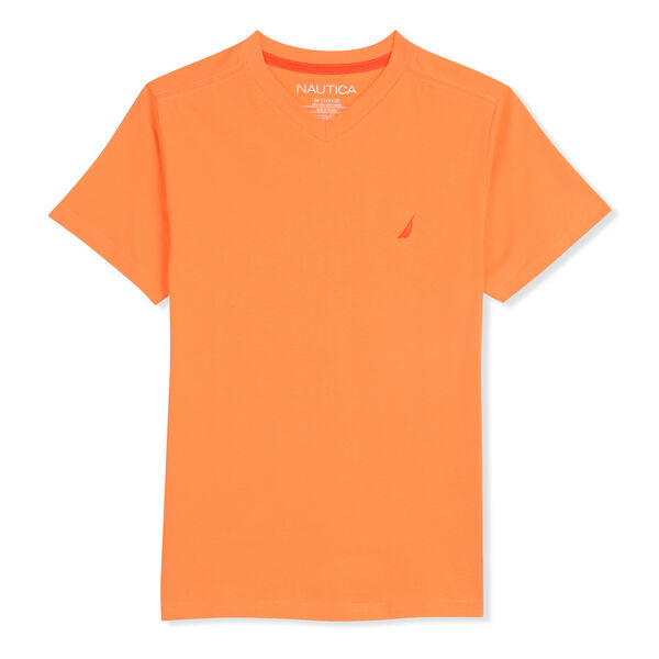 BOYS' STRAIT V-NECK T-SHIRT (8-20) - Fleet Orange