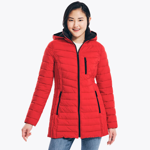 STRETCH HOODED JACKET - Tomales Red
