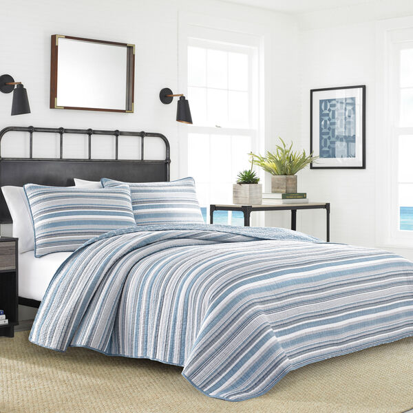 Jettison Full/Queen Quilt Set in Grey Blue - Blue Heather
