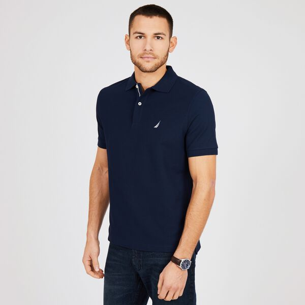 Big & Tall Performance Classic Fit Deck Polo - Pure Dark Pacific Wash