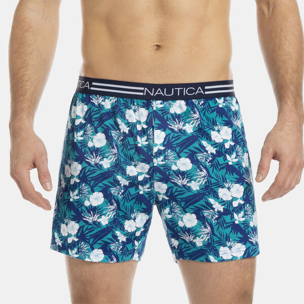 KNIT BOXER IN TROPICAL PRINT - Peri Cove Blue