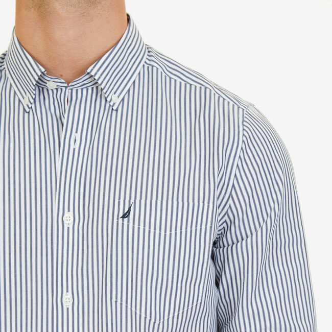 Nautica Classic Fit Wrinkle Resistant Striped Shirt,Peacoat,large