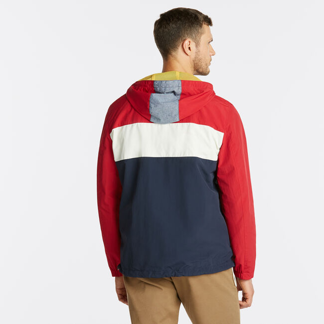 NAUTICA JEANS CO. PULL OVER ANORAK JACKET,Nautica Red,large