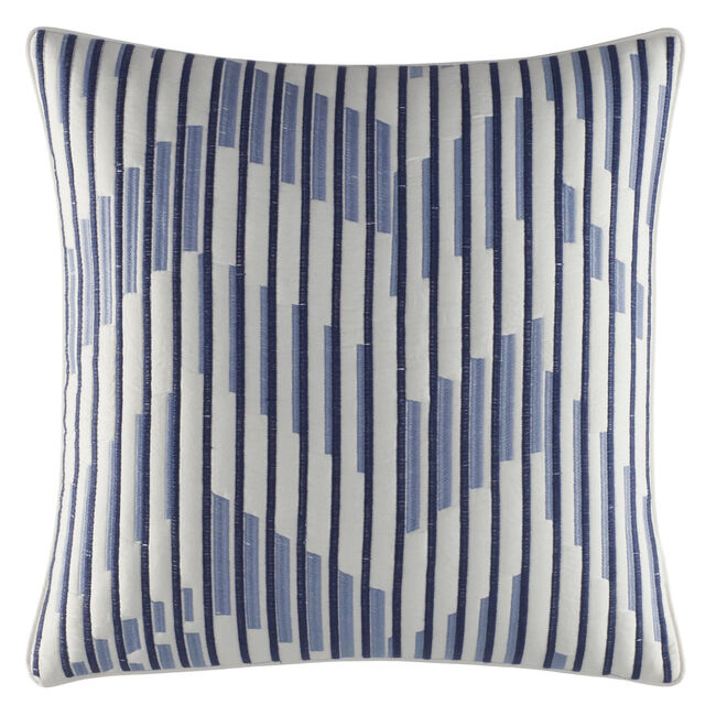 Waterbury Ivory & Navy Square Quilted Pillow,Pure Dark Pacific Wash,large