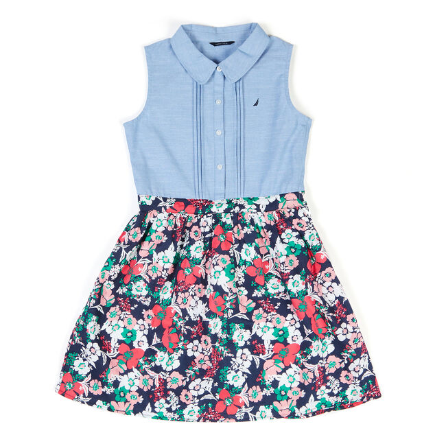 Toddler Girls' Chambray And Floral Dress (2T-4T),Bright Cobalt,large