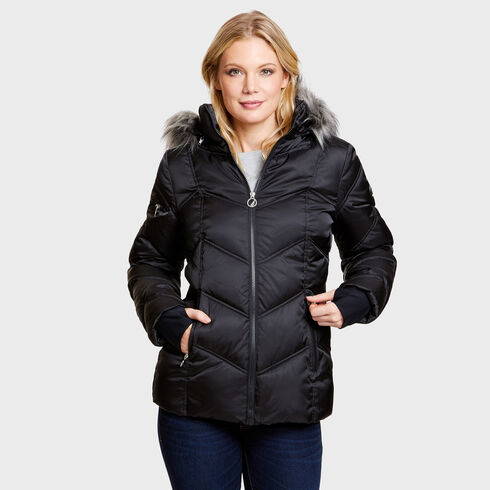 Hooded Chevron Puffer Jacket - True Black