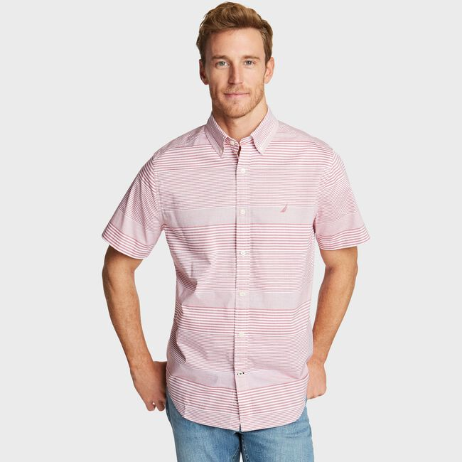 NAVTECH SHORT SLEEVE SHIRT IN STRIPE,Nautica Red,large