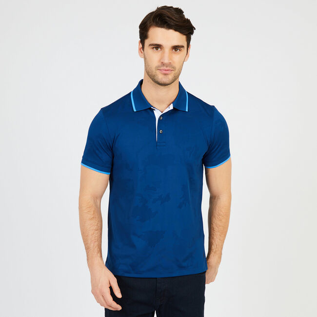 Short Sleeve Slim Fit Stretch Pique Polo,Estate Blue,large