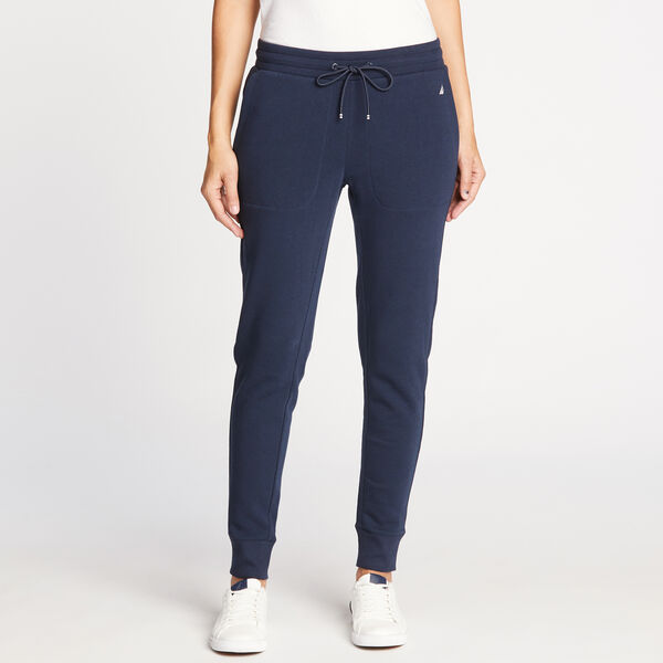FLEECE LINED JOGGERS IN NAVY SEAS - Stellar Blue Heather