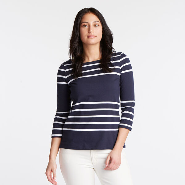 Boatneck Striped Long Sleeve Top - Deep Sea