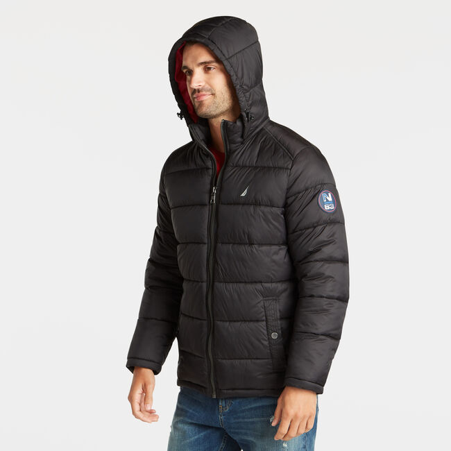 PUFFER JACKET WITH REMOVABLE HOOD,Black,large