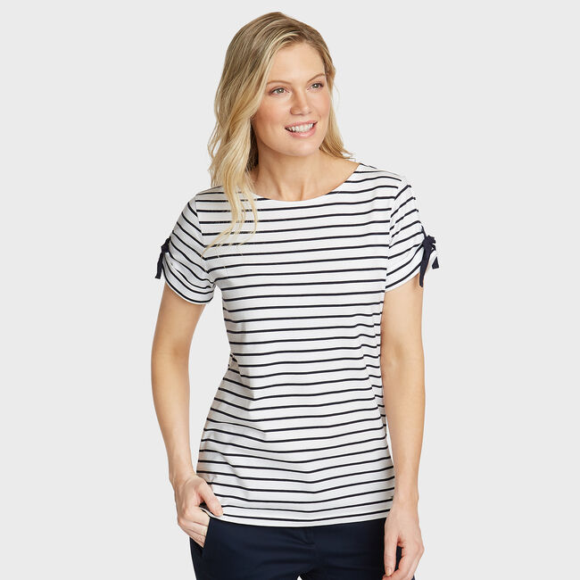 Grommet Detail Stripe Knit Tee,Bright White,large