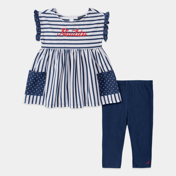 TODDLER GIRLS' STRIPE POLKA DOT PRINT 2PC CAPRI SET (2T-4T)  - Aquadream