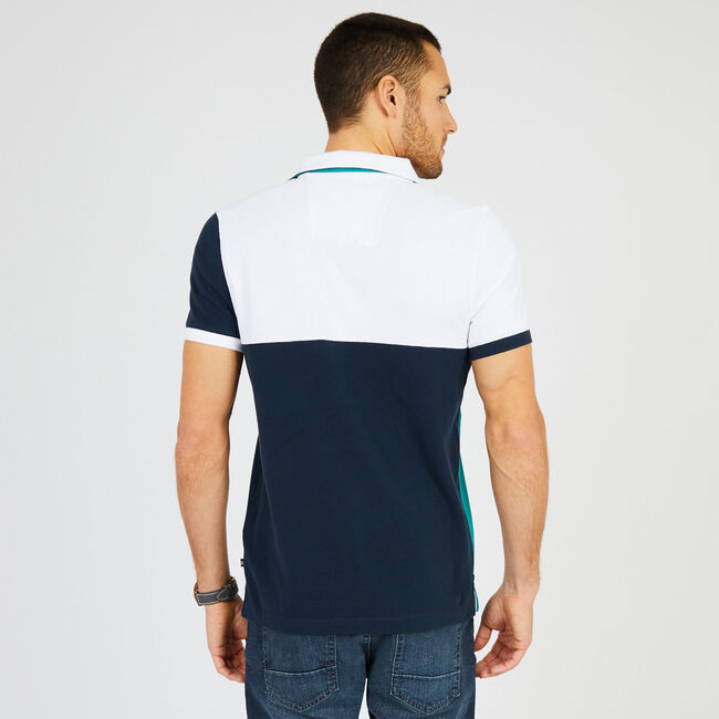 Slim Fit Short Sleeve Colorblock Polo,True Navy,large