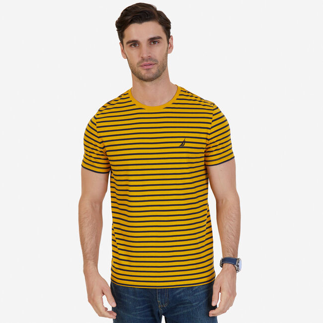 7c004aa9d9 Striped Crew-Neck T-Shirt,Yellow,large ...