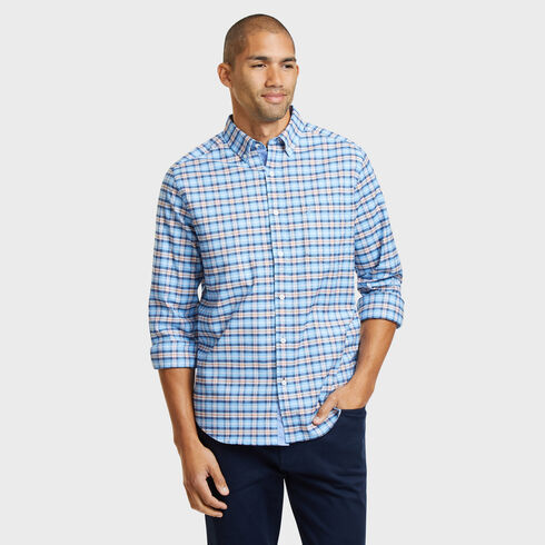 LONG SLEEVE CLASSIC FIT OXFORD SHIRT IN MEDIUM  PLAID  - Blue Moon