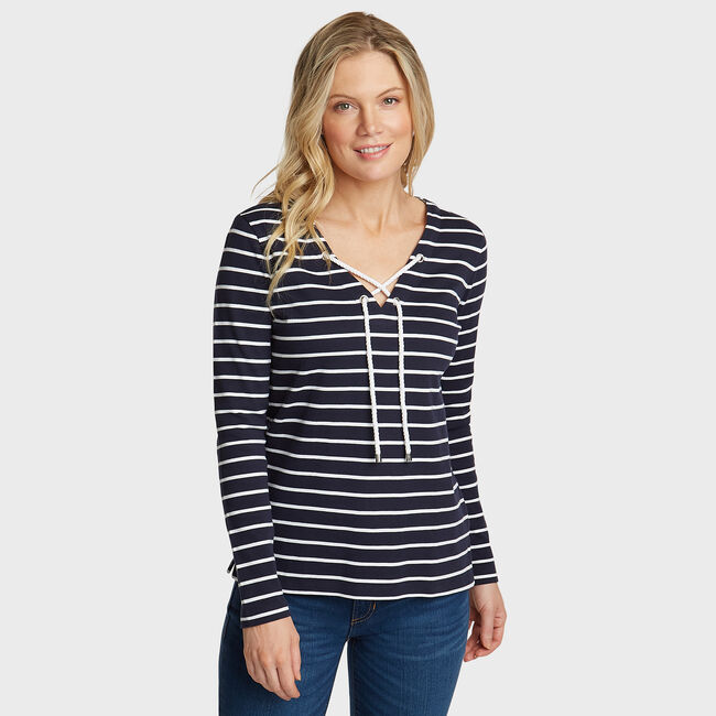 Shore Stripe Tunic Top,Stellar Blue Heather,large