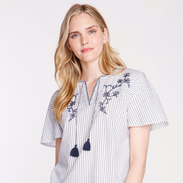 EMBROIDERED COTTON BLEND TOP - Bright White
