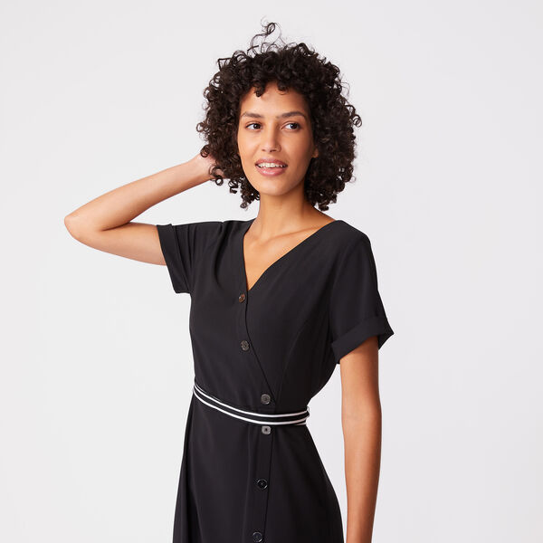 BUTTON WRAP TIE-BELT DRESS - True Black