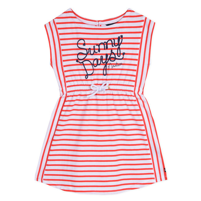 Little Girls' Sunny Days Jersey Dress (4-7),Lobster Red,large
