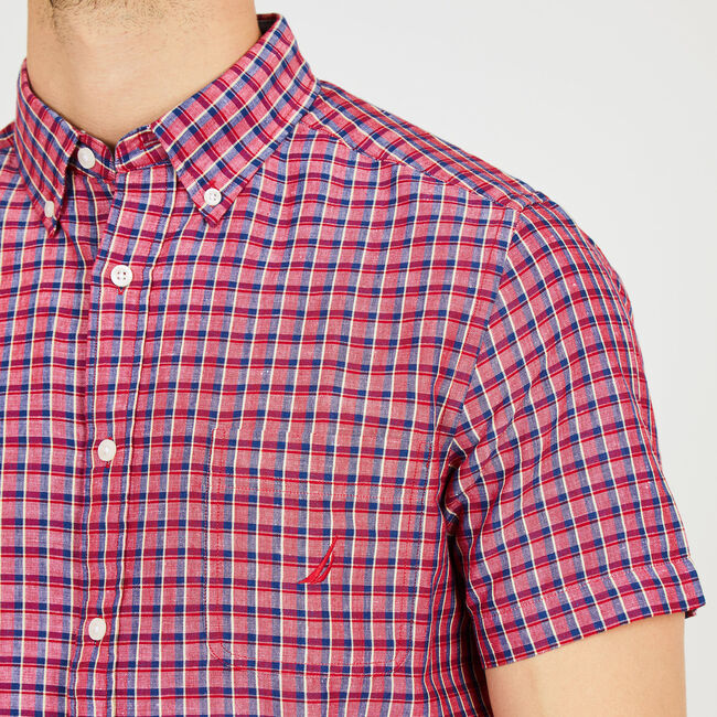 Short Sleeve Plaid Classic Fit Shirt,Nautica Red,large