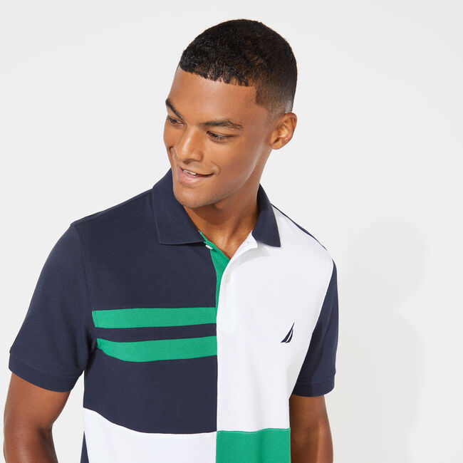 CLASSIC FIT COLORBLOCK POLO,Navy,large