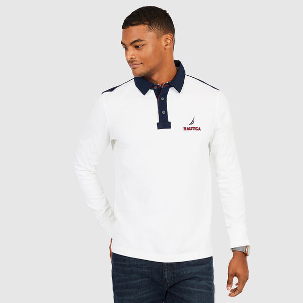 Chest Logo Classic Fit Long Sleeve Polo - Sail White