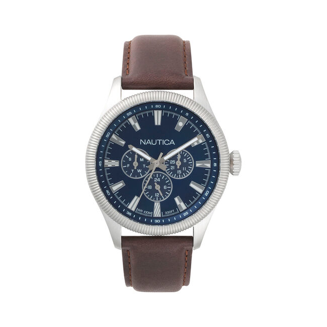 Starboard Multifunction Leather Watch,Ice Blue,large