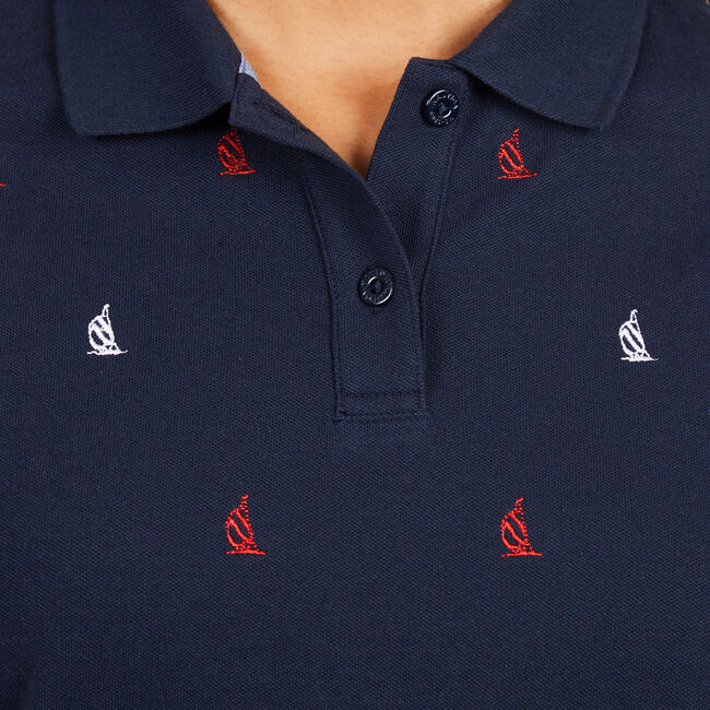 Classic Fit Spinnaker Polo Shirt ,Deep Sea,large