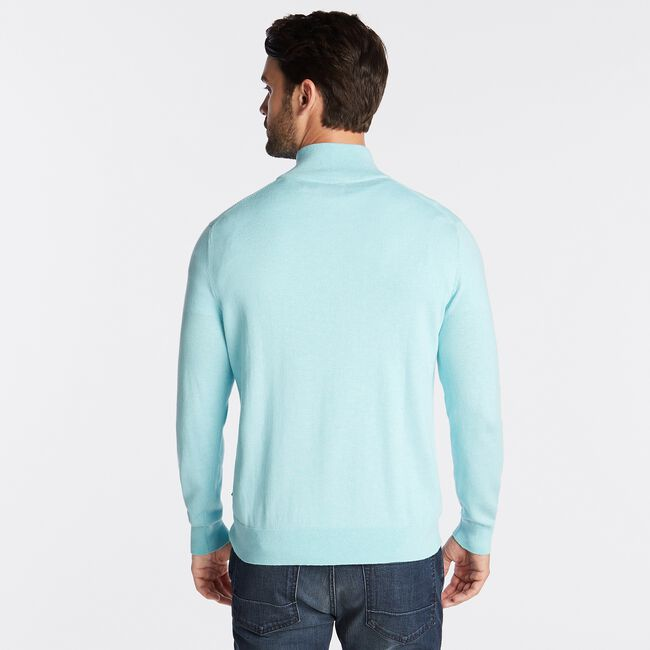 QUARTER ZIP NAVTECH SWEATER,Distressed Blue Wash,large