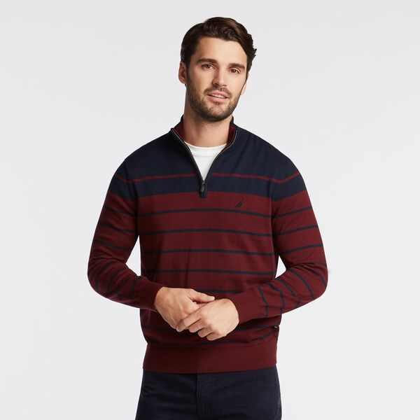 BIG & TALL NAVTECH STRIPED QUARTER-ZIP SWEATER - Royal Burgundy