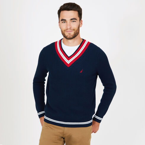 Cable Tipped V-Neck Sweater - Navy