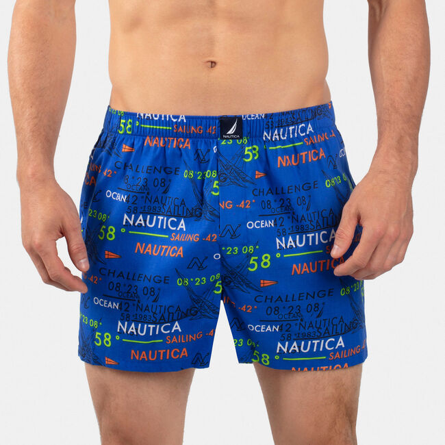 Sailing Graphic Woven Boxers,Bright Cobalt,large