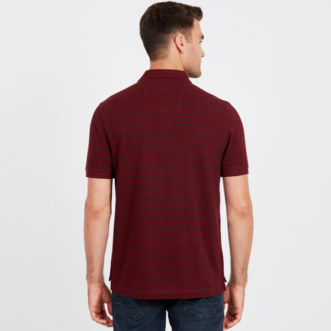 Classic Fit Mesh Polo in Breton Stripe,Royal Burgundy,large