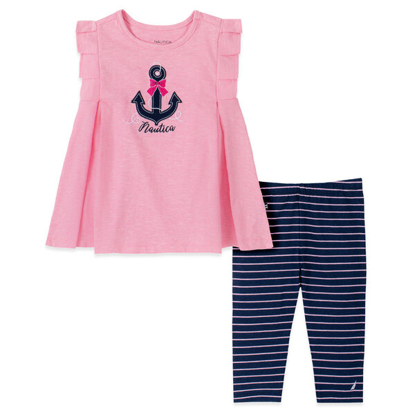 TODDLER GIRLS' EMBROIDERED ANCHOR AND BOW CAPRI 2PC SET (2T-4T) - Pink