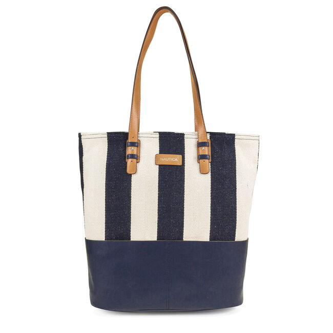 Quayside Tote - Navy & Natural Stripe,Peacoat,large