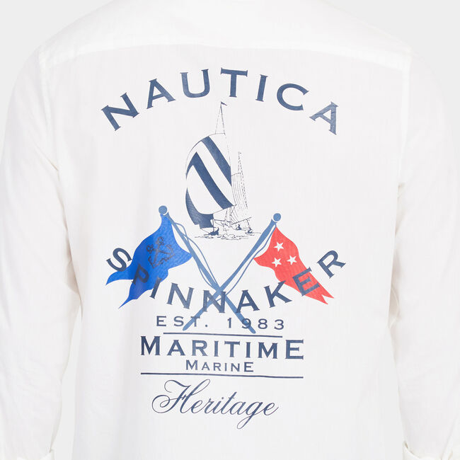 Long Sleeve Classic Fit Spinnaker Heritage Shirt,Sail White,large