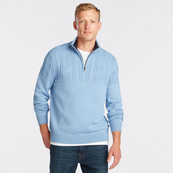 QUARTER-ZIP CABLE-KNIT SWEATER - Charcoal Blue Heather