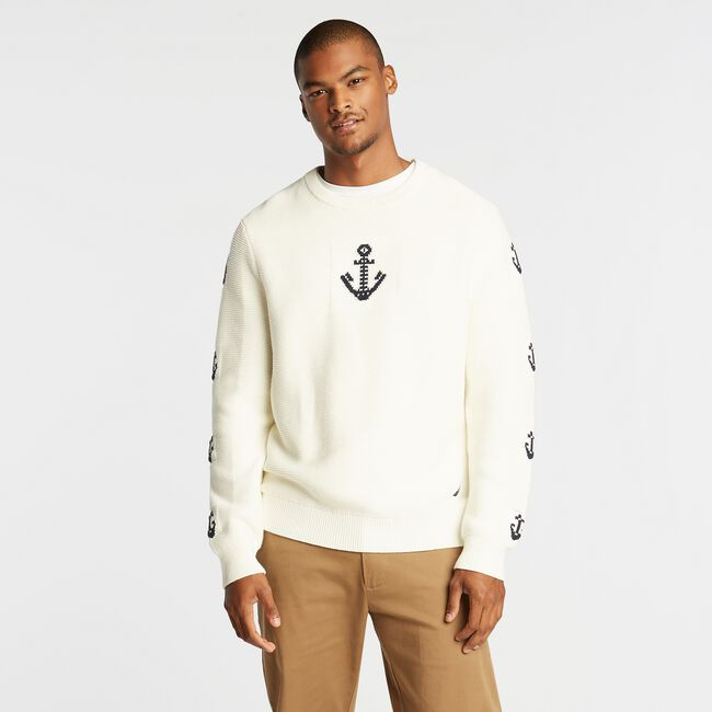 CREWNECK JACQUARD ANCHOR SWEATER,Marshmallow,large