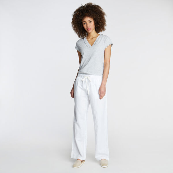 WIDE LEG LINEN PANTS IN STRIPE - Bright White