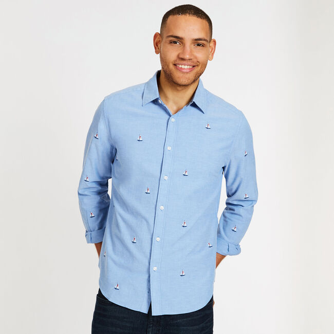 Long Sleeve Palm Springs Classic Fit Chambray Shirt,Riviera Blue,large