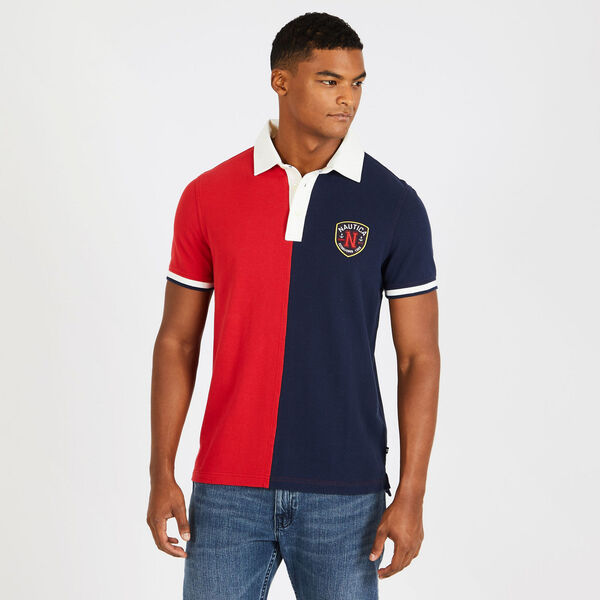 Slim Fit Colorblock Cotton Polo - Rescue Red