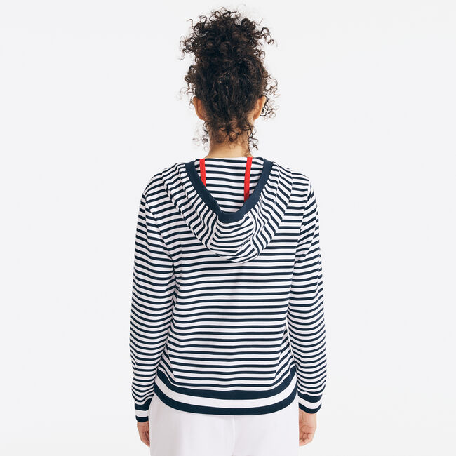 SUSTAINABLY CRAFTED STRIPED SPLIT-NECK HOODIE,Stellar Blue Heather,large