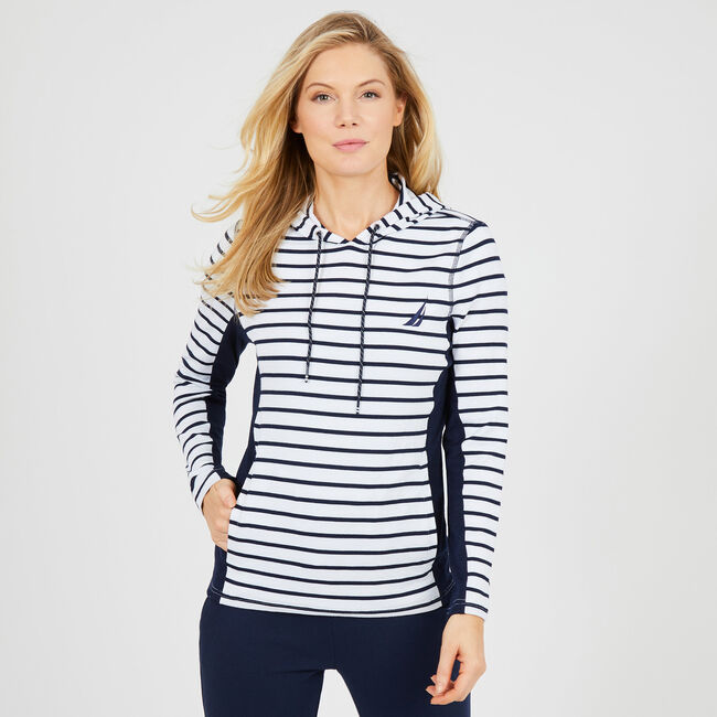 Striped Drawstring Pullover Hoodie,Bright White,large