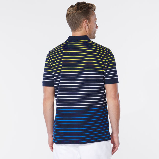 CLASSIC FIT STRIPE POLO,Navy,large