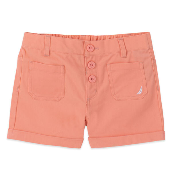 LITTLE GIRLS' STRETCH-TWILL PULL-ON SHORT (4-7) - Neon Orange