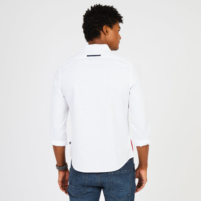 Long Sleeve Classic Fit Signature Button Down,Bright White,large